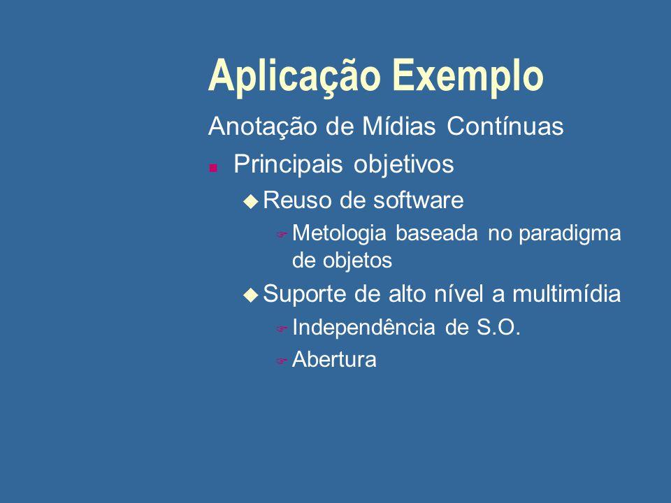 Aplicação Exemplo Anotação de Mídias Contínuas Principais objetivos