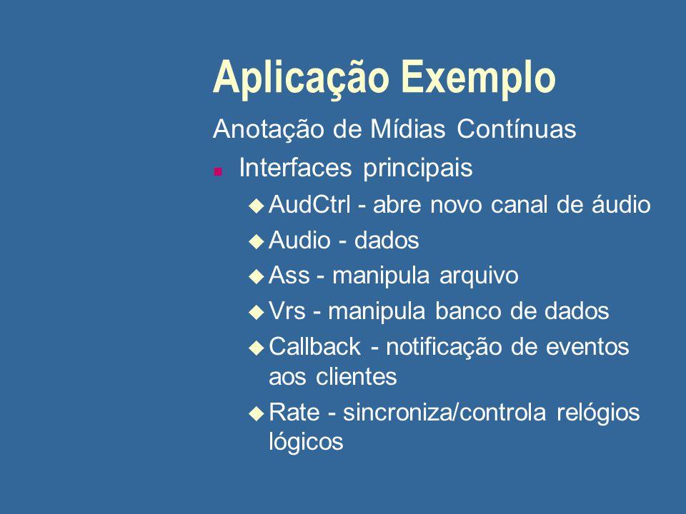 Aplicação Exemplo Anotação de Mídias Contínuas Interfaces principais