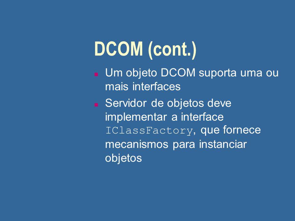 DCOM (cont.) Um objeto DCOM suporta uma ou mais interfaces