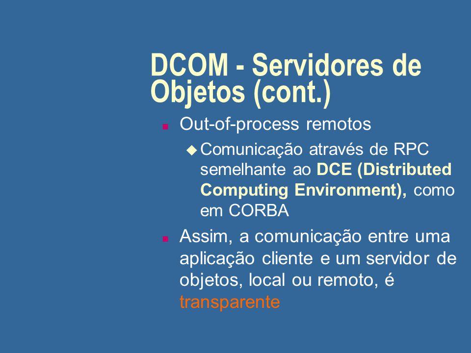 DCOM - Servidores de Objetos (cont.)