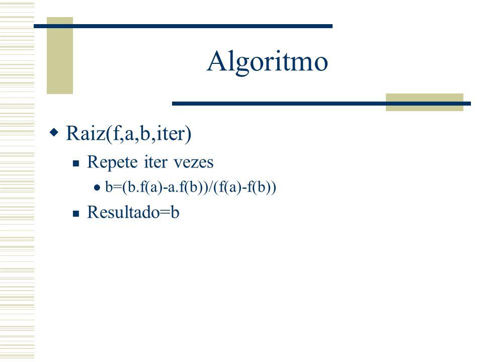 Algoritmo Raiz(f,a,b,iter) Repete iter vezes Resultado=b