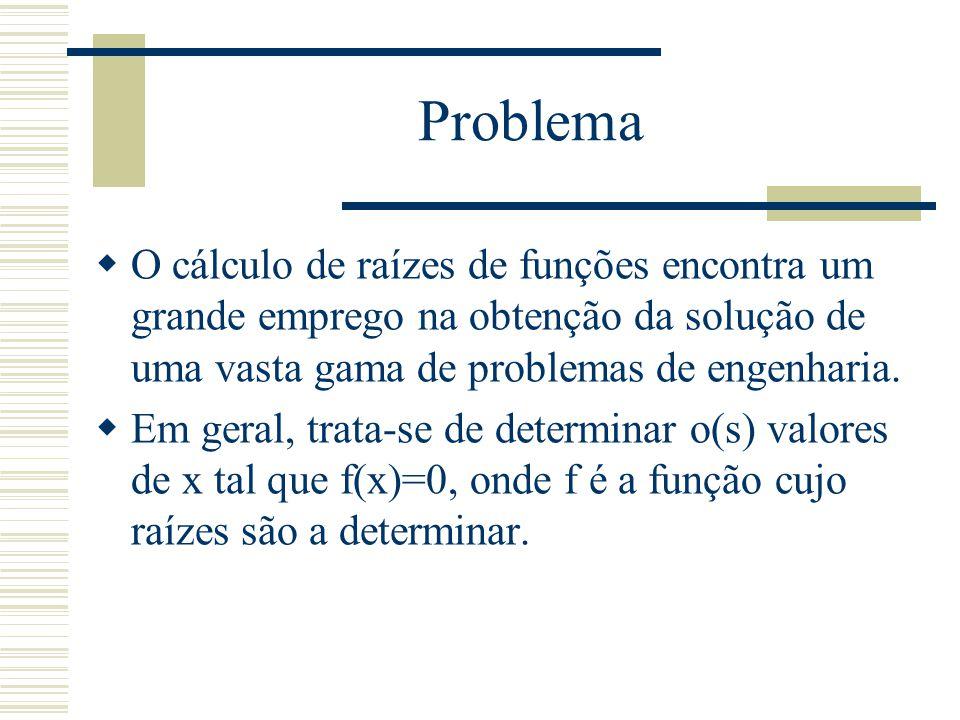 Problema O cálculo de raízes de funções encontra um grande emprego na obtenção da solução de uma vasta gama de problemas de engenharia.