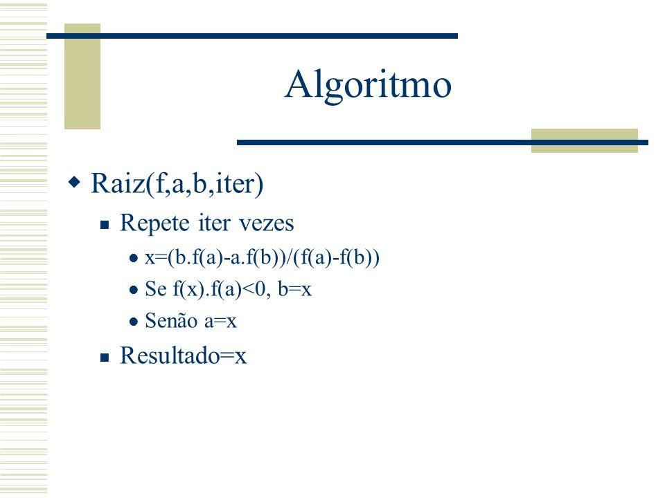 Algoritmo Raiz(f,a,b,iter) Repete iter vezes Resultado=x