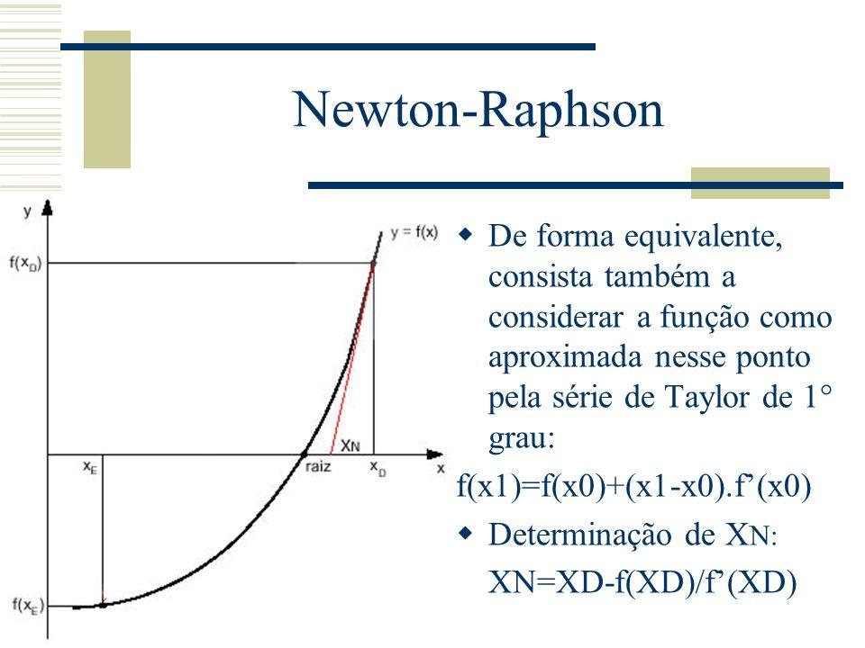 Newton-Raphson De forma equivalente, consista também a considerar a função como aproximada nesse ponto pela série de Taylor de 1° grau: