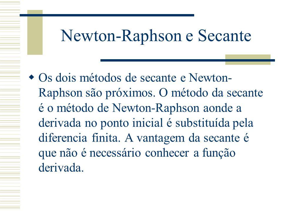 Newton-Raphson e Secante