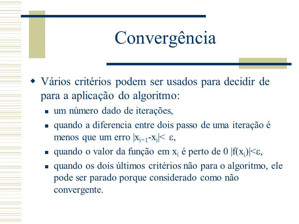 Convergência Vários critérios podem ser usados para decidir de para a aplicação do algoritmo: um número dado de iterações,