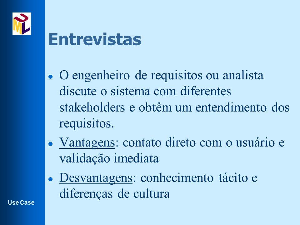Entrevistas O engenheiro de requisitos ou analista discute o sistema com diferentes stakeholders e obtêm um entendimento dos requisitos.