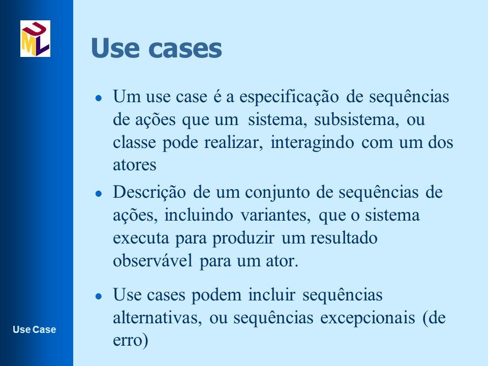 Use cases Um use case é a especificação de sequências de ações que um sistema, subsistema, ou classe pode realizar, interagindo com um dos atores.