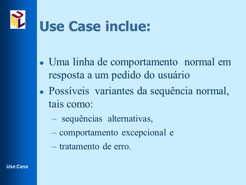 Use Case inclue: Uma linha de comportamento normal em resposta a um pedido do usuário. Possíveis variantes da sequência normal, tais como: