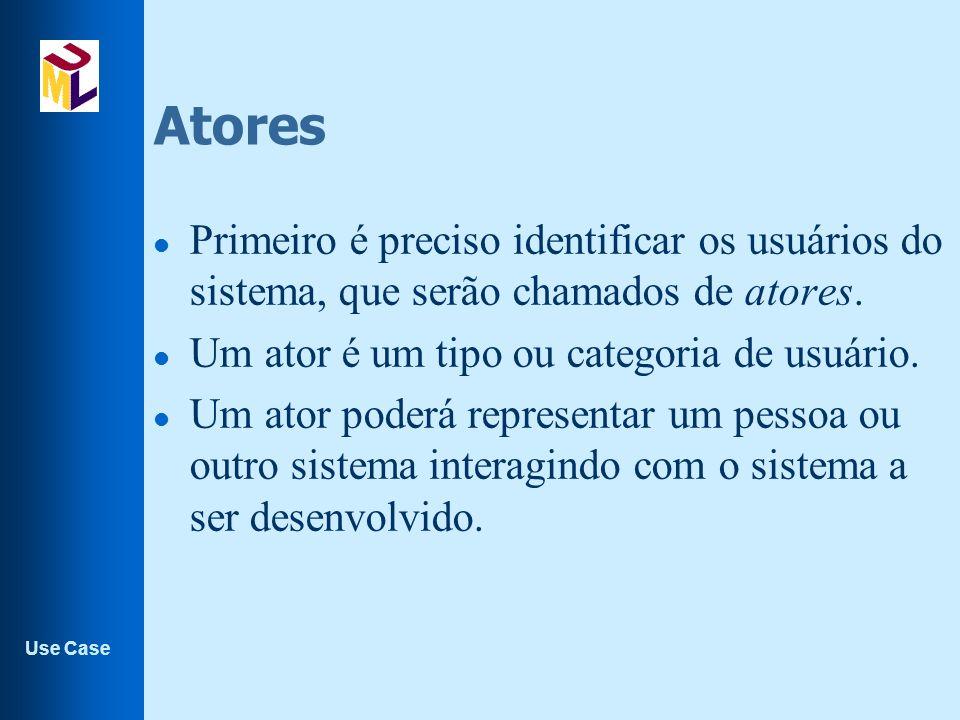 Atores Primeiro é preciso identificar os usuários do sistema, que serão chamados de atores. Um ator é um tipo ou categoria de usuário.