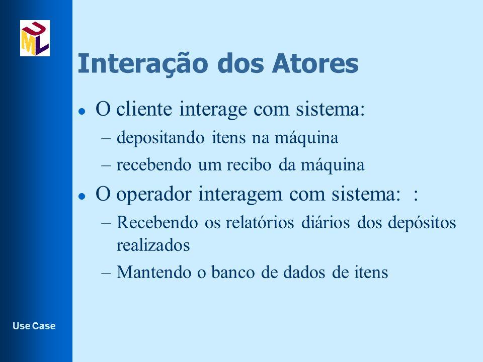 Interação dos Atores O cliente interage com sistema: