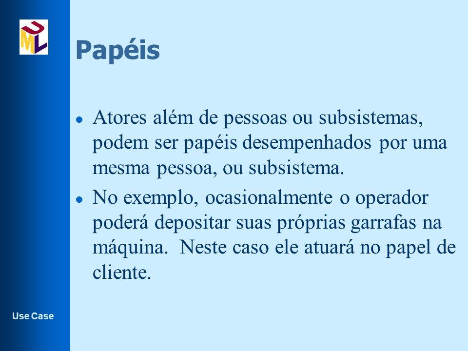 Papéis Atores além de pessoas ou subsistemas, podem ser papéis desempenhados por uma mesma pessoa, ou subsistema.