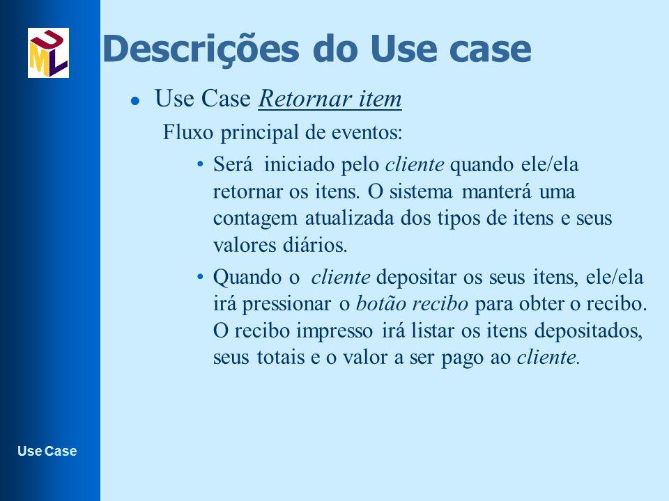 Descrições do Use case Use Case Retornar item