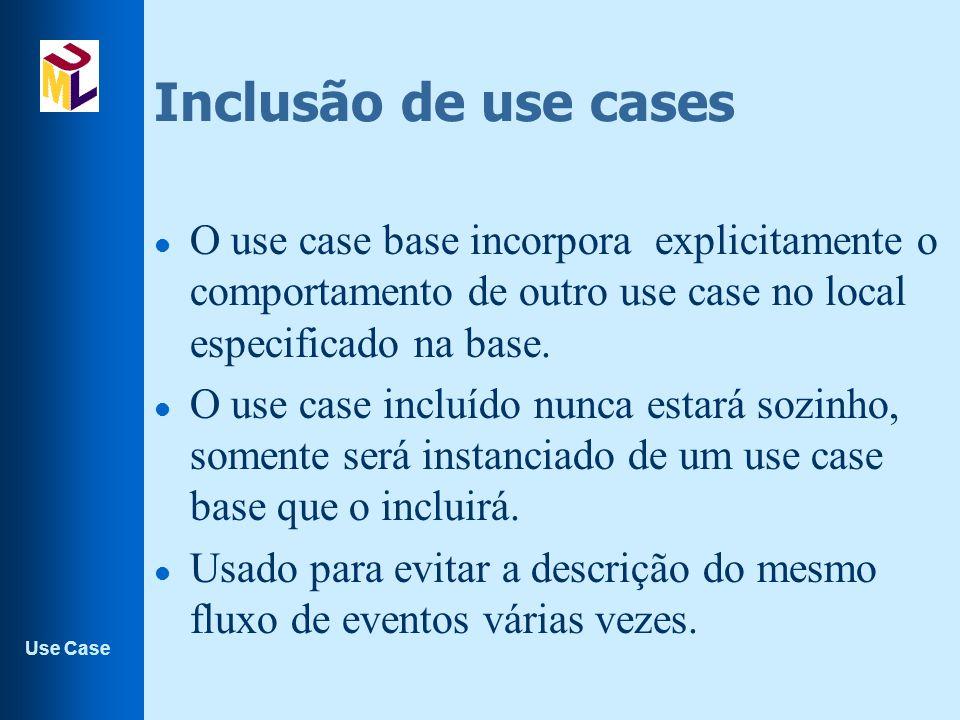 Inclusão de use cases O use case base incorpora explicitamente o comportamento de outro use case no local especificado na base.