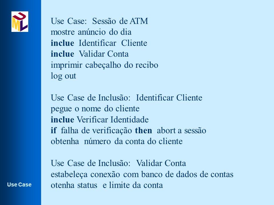 Use Case: Sessão de ATM mostre anúncio do dia. inclue Identificar Cliente. inclue Validar Conta.