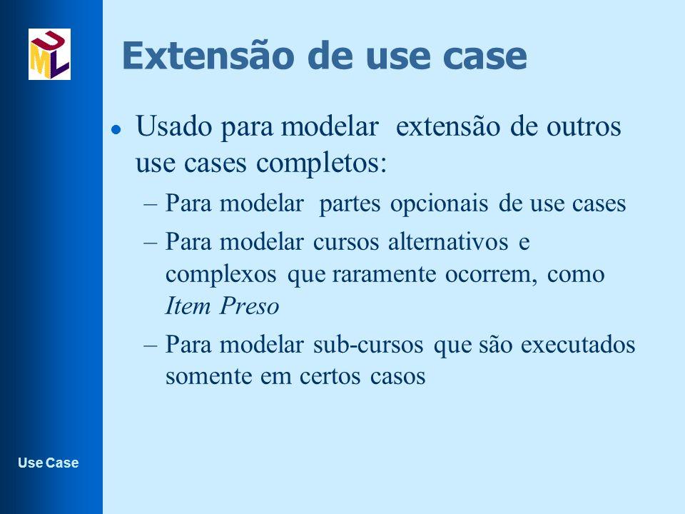 Extensão de use case Usado para modelar extensão de outros use cases completos: Para modelar partes opcionais de use cases.
