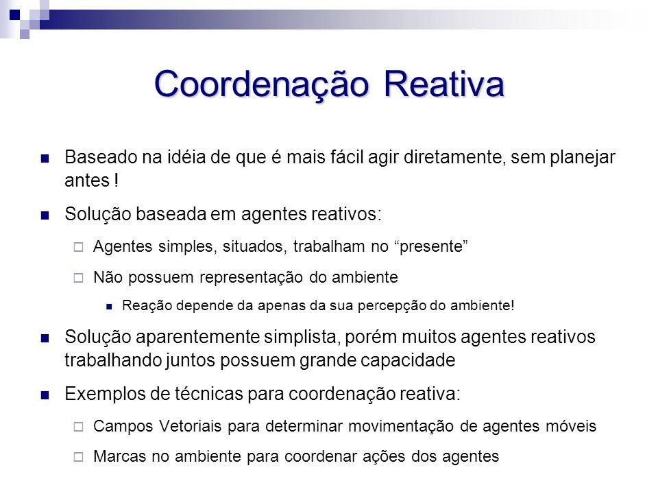 Coordenação Reativa Baseado na idéia de que é mais fácil agir diretamente, sem planejar antes ! Solução baseada em agentes reativos: