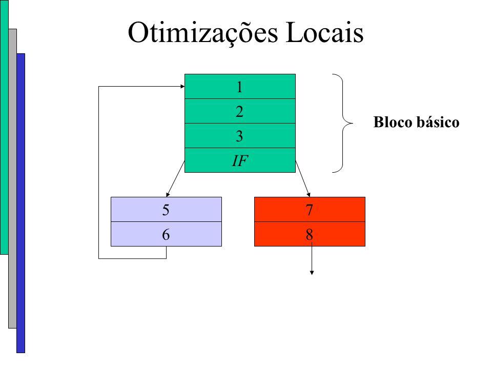 Otimizações Locais 1 2 Bloco básico 3 IF 5 7 6 8