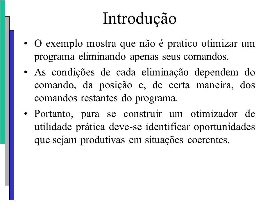 Introdução O exemplo mostra que não é pratico otimizar um programa eliminando apenas seus comandos.