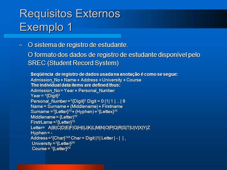 Requisitos Externos Exemplo 1