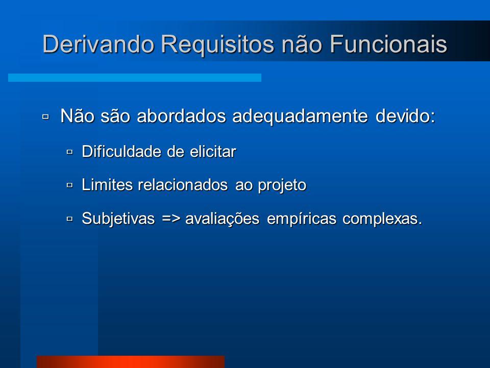 Derivando Requisitos não Funcionais