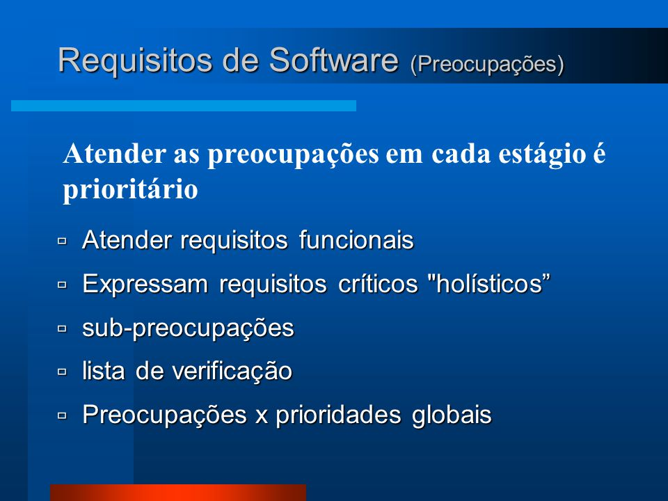Requisitos de Software (Preocupações)