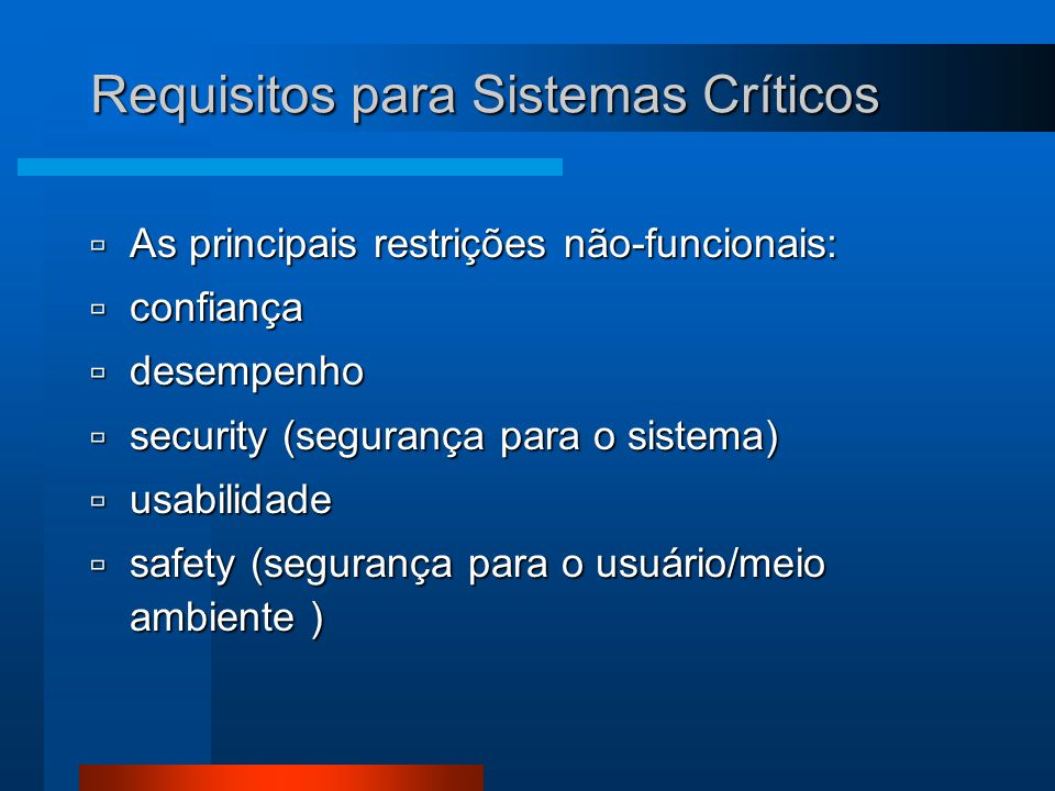 Requisitos para Sistemas Críticos