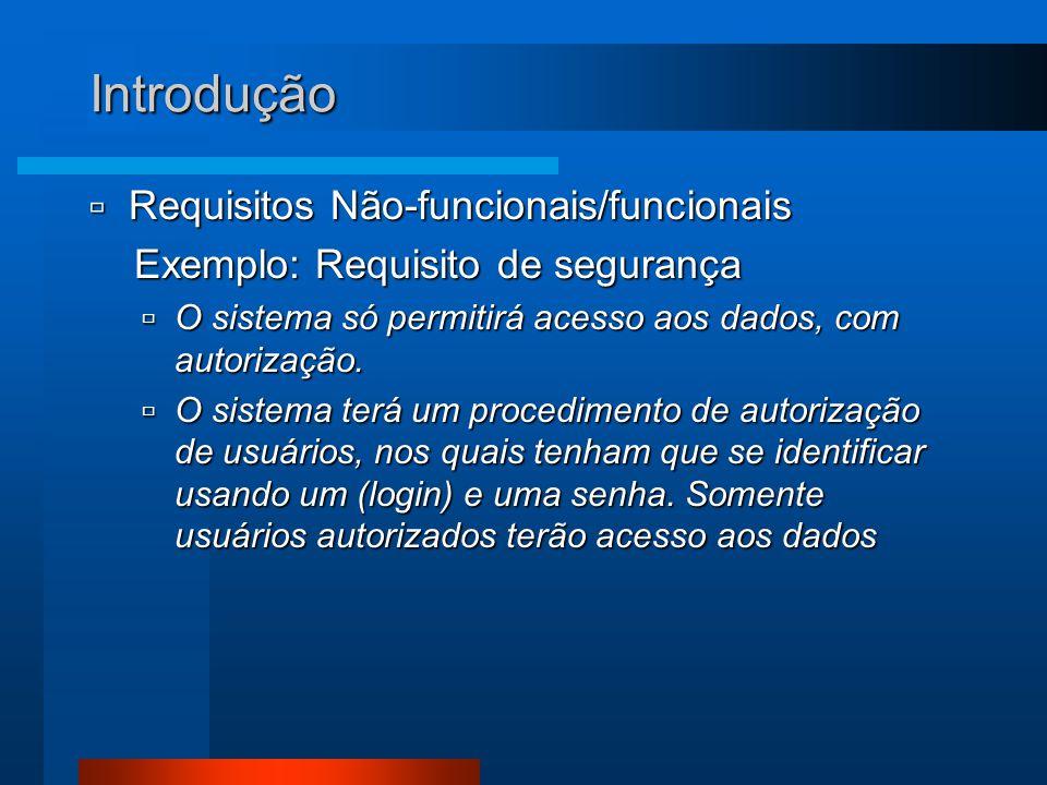 Introdução Requisitos Não-funcionais/funcionais