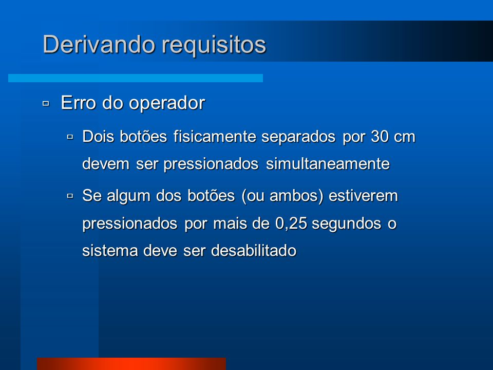 Derivando requisitos Erro do operador