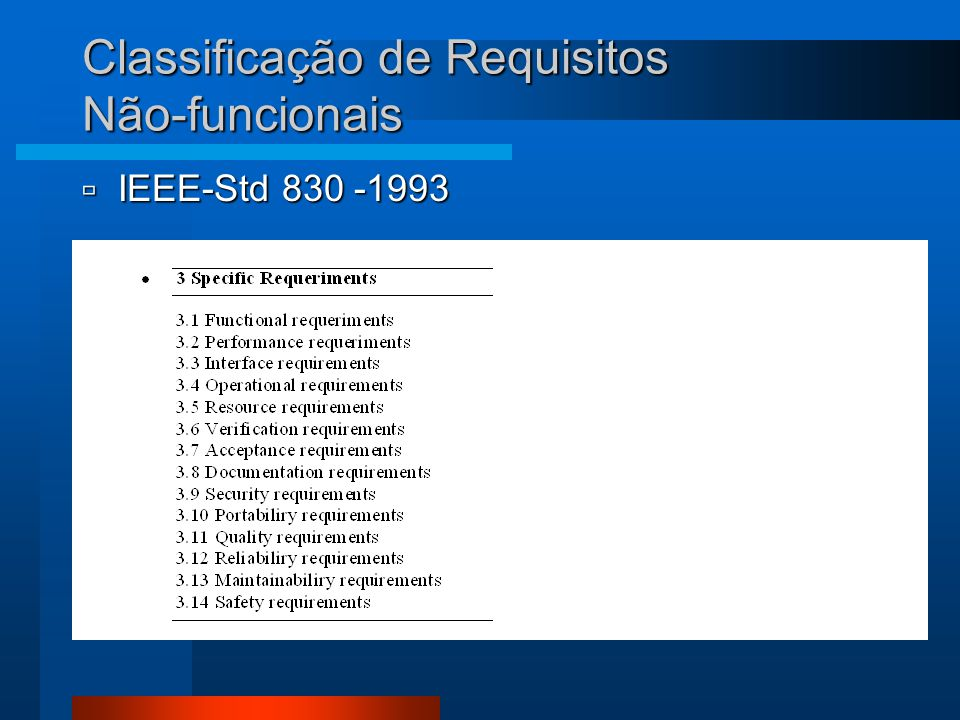 Classificação de Requisitos Não-funcionais