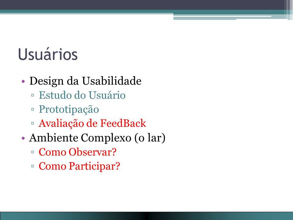 Usuários Design da Usabilidade Ambiente Complexo (o lar)