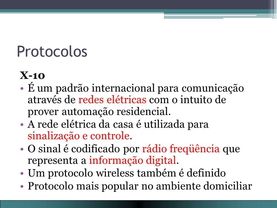 Protocolos X-10. É um padrão internacional para comunicação através de redes elétricas com o intuito de prover automação residencial.