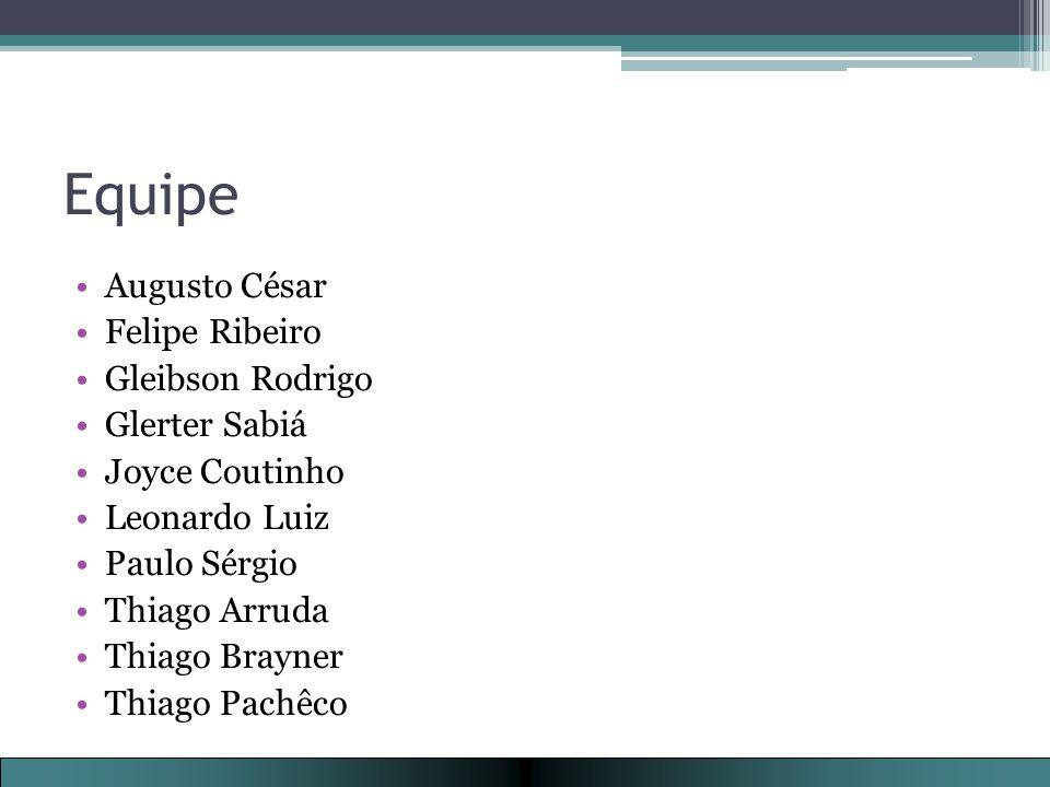Equipe Augusto César Felipe Ribeiro Gleibson Rodrigo Glerter Sabiá