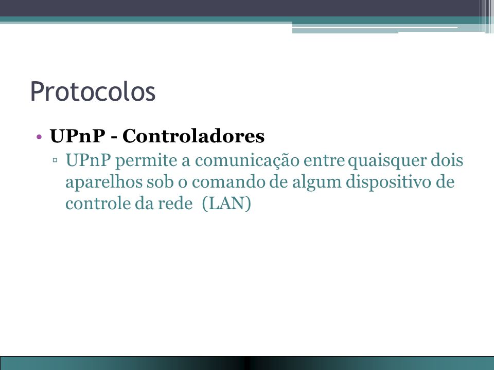 Protocolos UPnP - Controladores