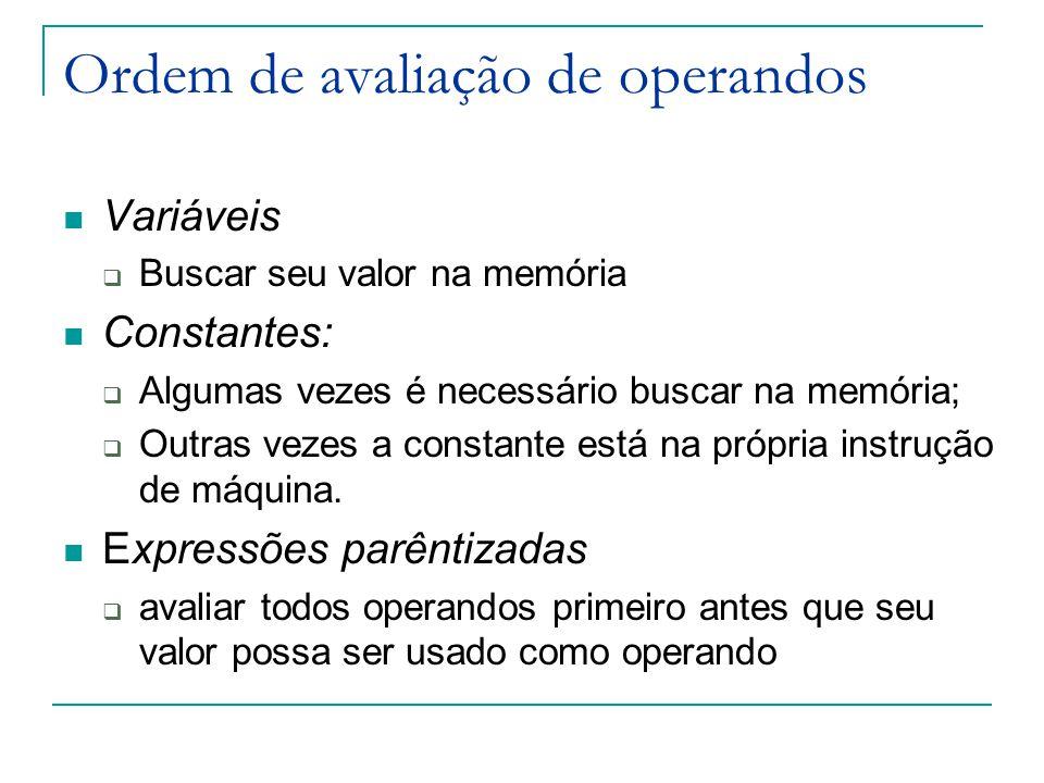 Ordem de avaliação de operandos