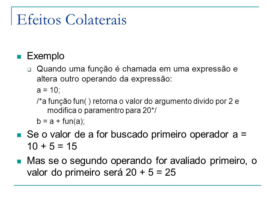 Efeitos Colaterais Exemplo