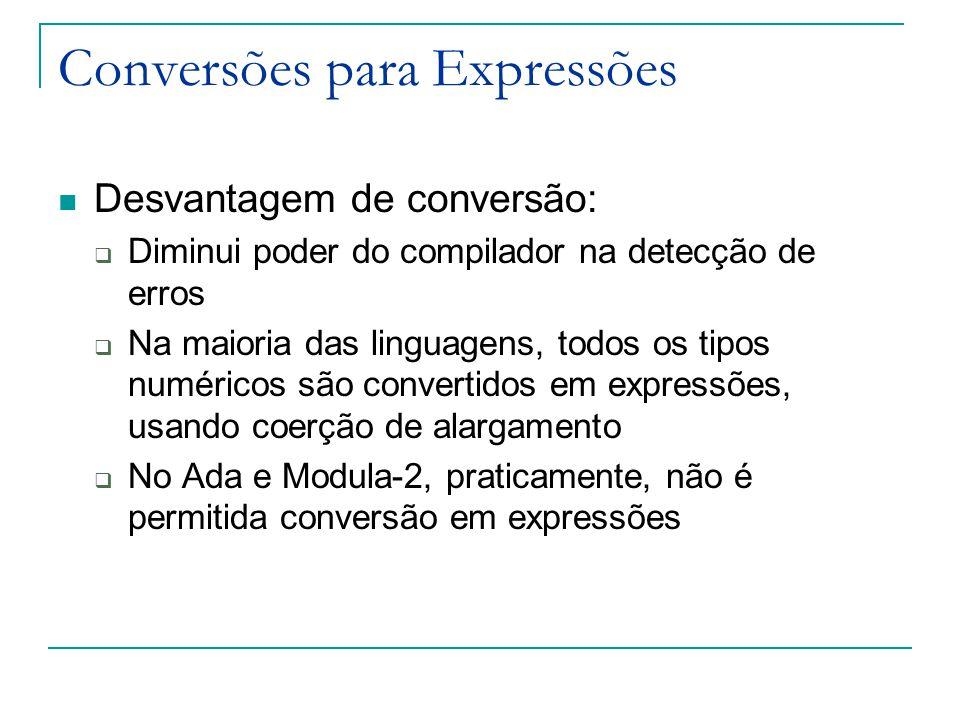Conversões para Expressões