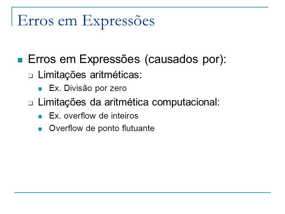 Erros em Expressões Erros em Expressões (causados por):