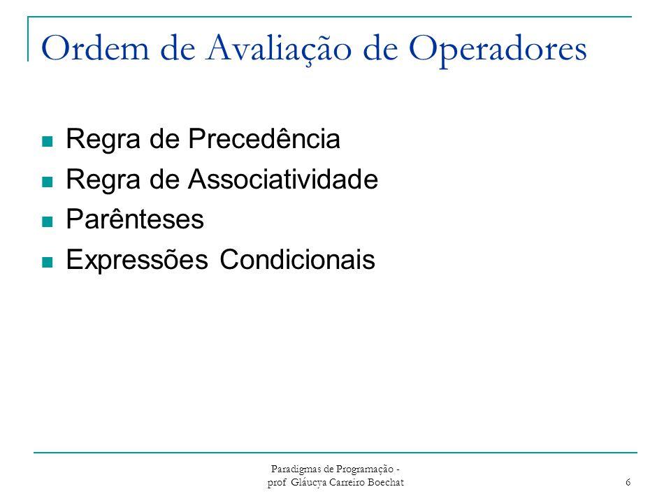 Ordem de Avaliação de Operadores