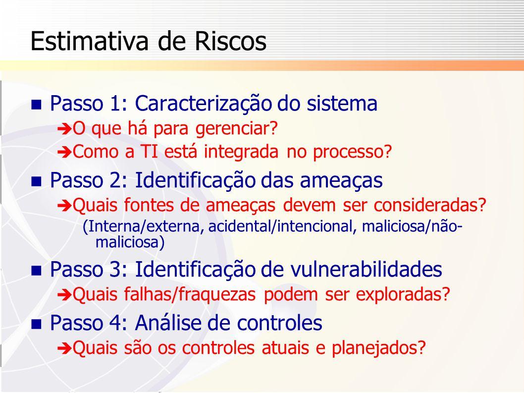 Estimativa de Riscos Passo 1: Caracterização do sistema