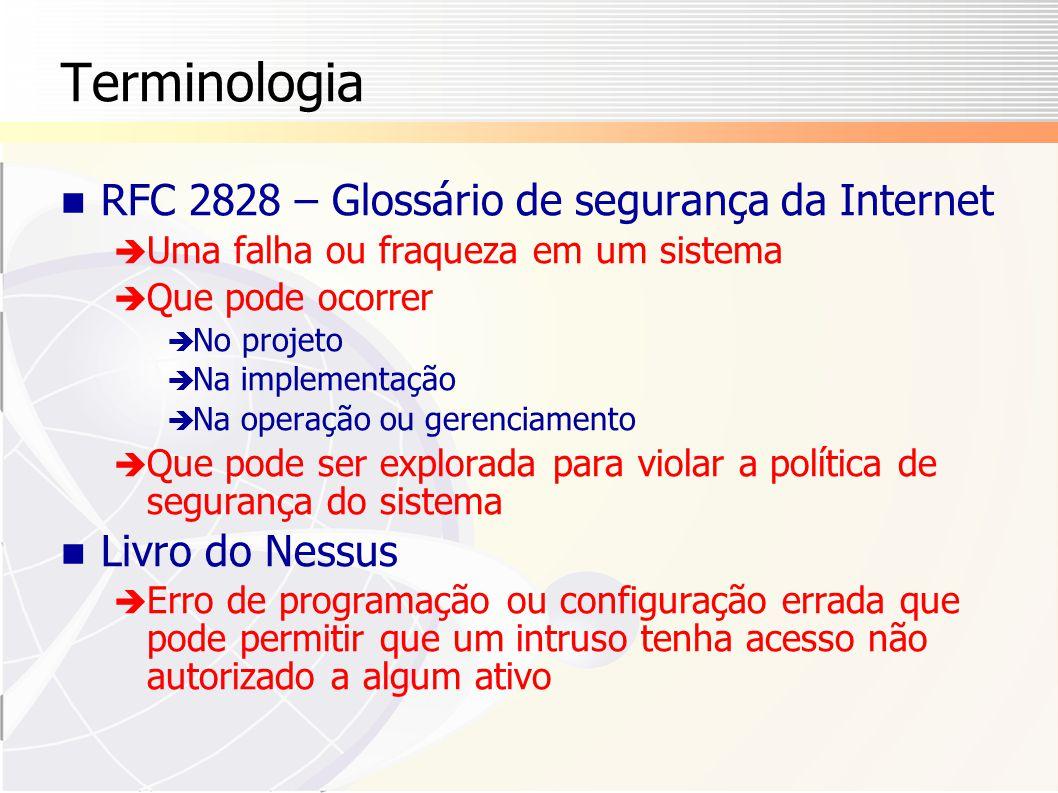 Terminologia RFC 2828 – Glossário de segurança da Internet