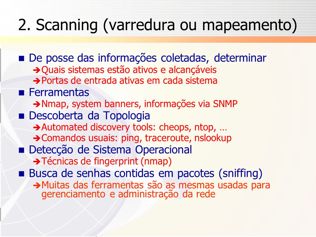 2. Scanning (varredura ou mapeamento)