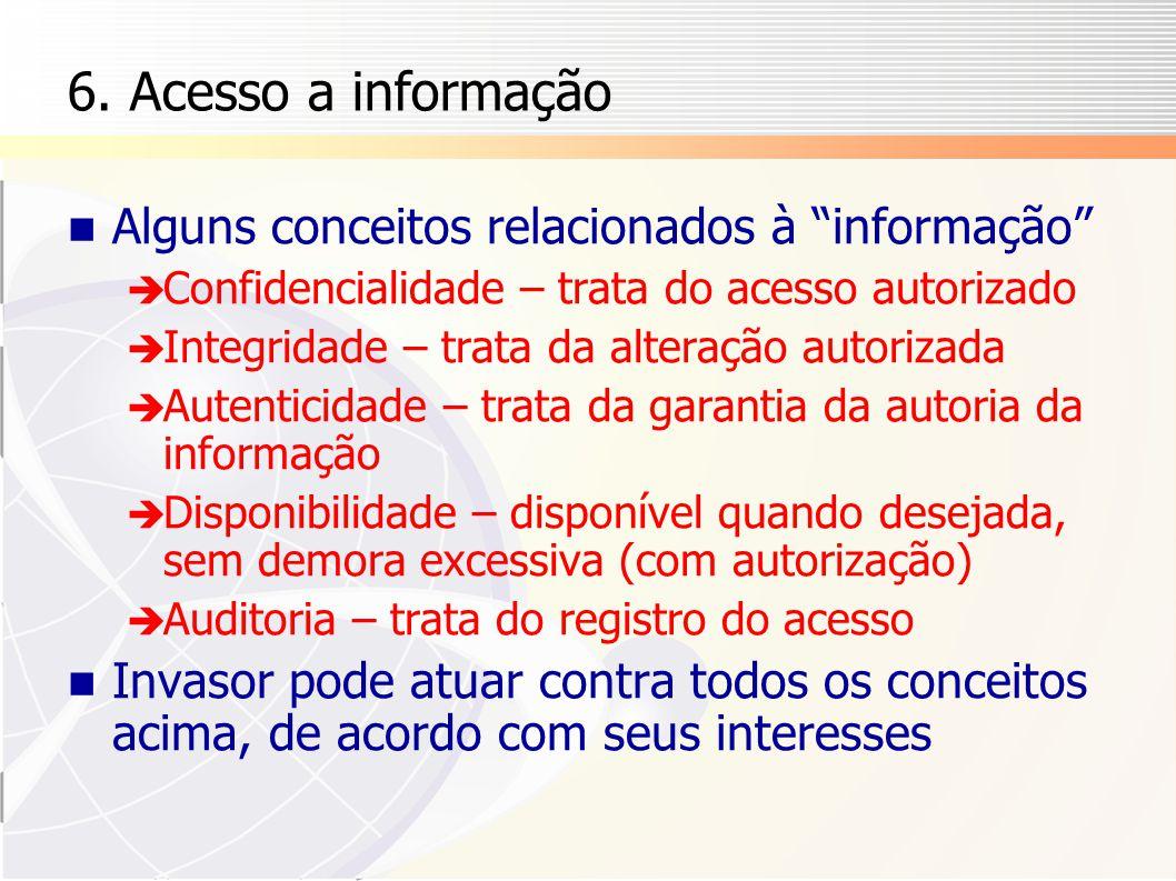 6. Acesso a informação Alguns conceitos relacionados à informação