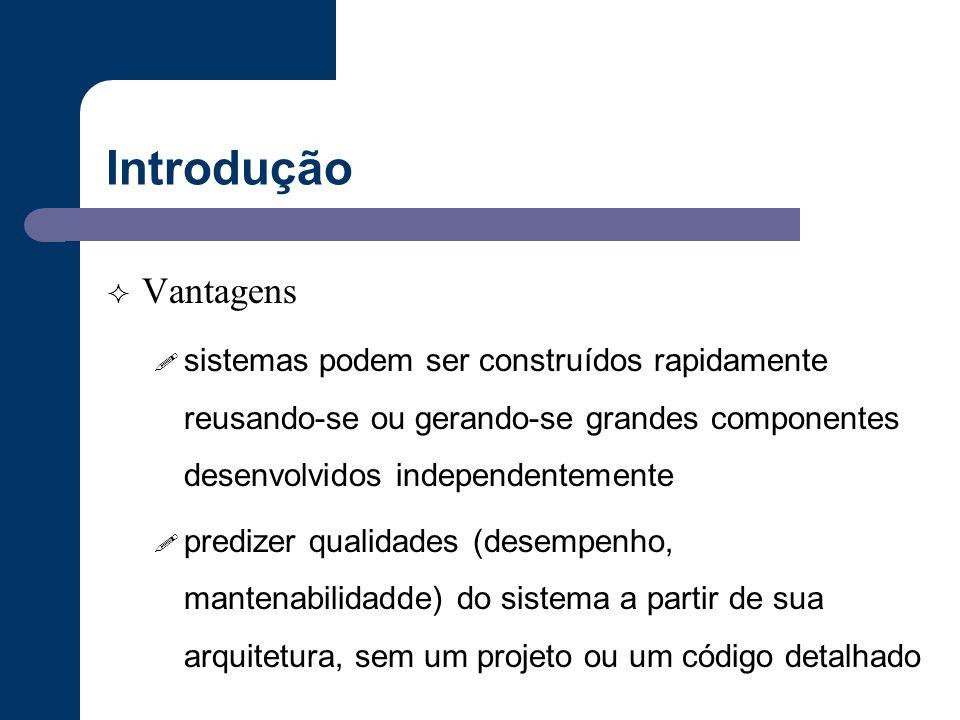 Introdução Vantagens. sistemas podem ser construídos rapidamente reusando-se ou gerando-se grandes componentes desenvolvidos independentemente.