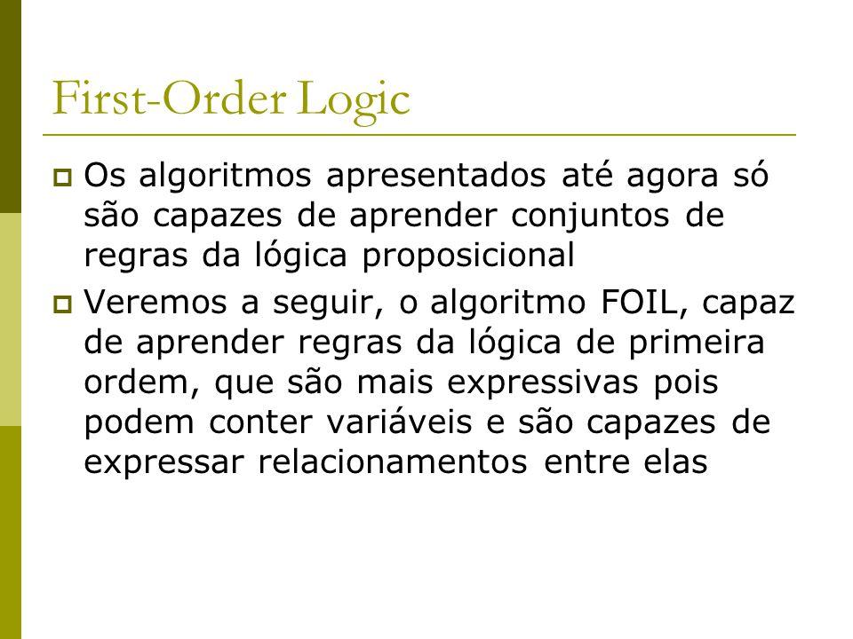 First-Order Logic Os algoritmos apresentados até agora só são capazes de aprender conjuntos de regras da lógica proposicional.