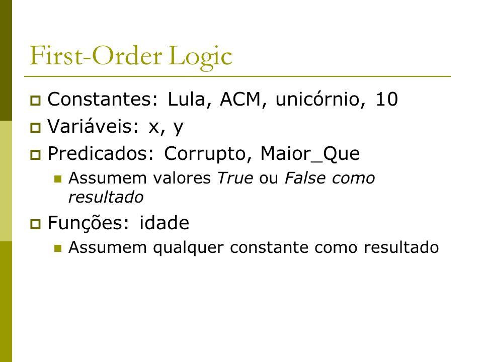 First-Order Logic Constantes: Lula, ACM, unicórnio, 10 Variáveis: x, y