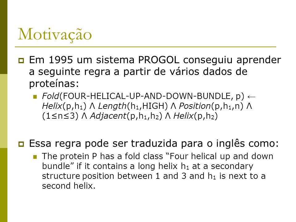 Motivação Em 1995 um sistema PROGOL conseguiu aprender a seguinte regra a partir de vários dados de proteínas: