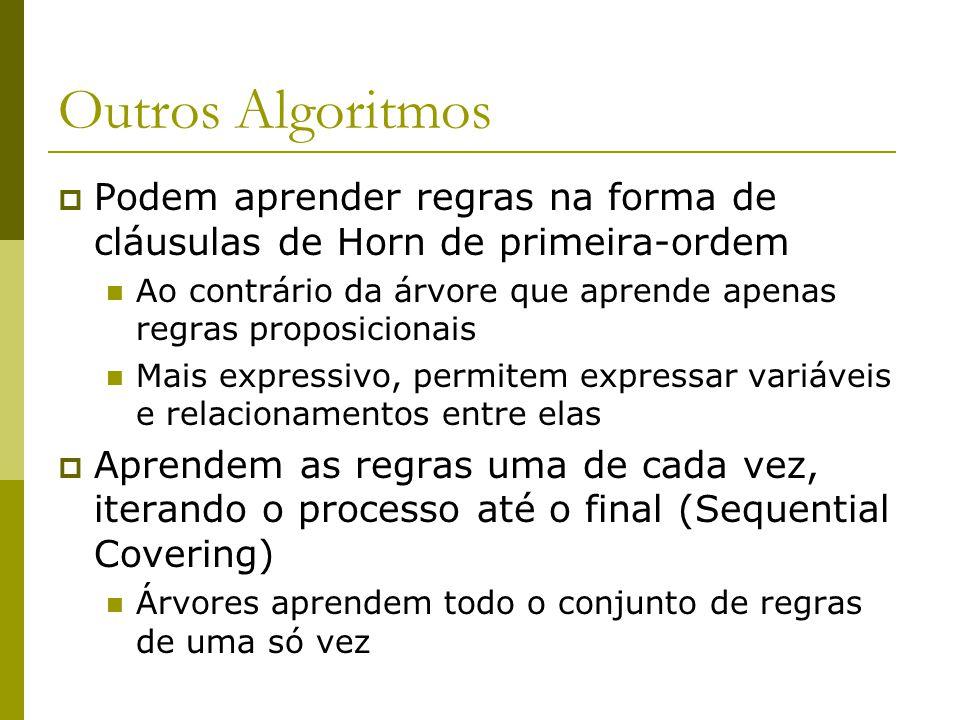 Outros Algoritmos Podem aprender regras na forma de cláusulas de Horn de primeira-ordem.