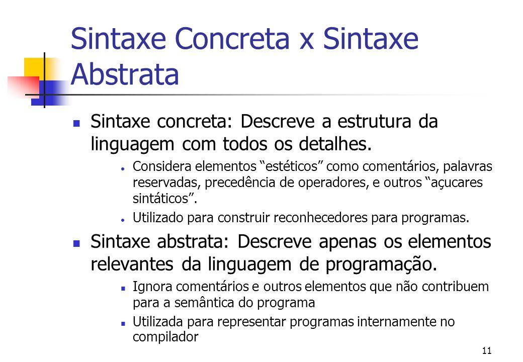 Sintaxe Concreta x Sintaxe Abstrata