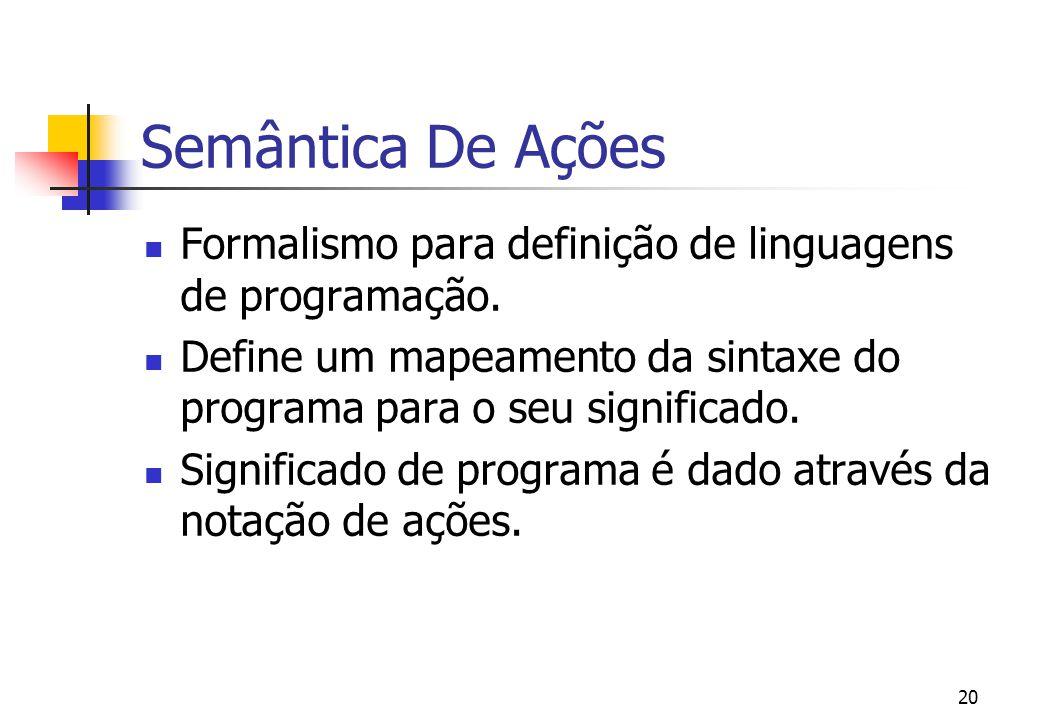 Semântica De Ações Formalismo para definição de linguagens de programação. Define um mapeamento da sintaxe do programa para o seu significado.